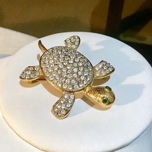 Pave Crystal Turtle Brooch